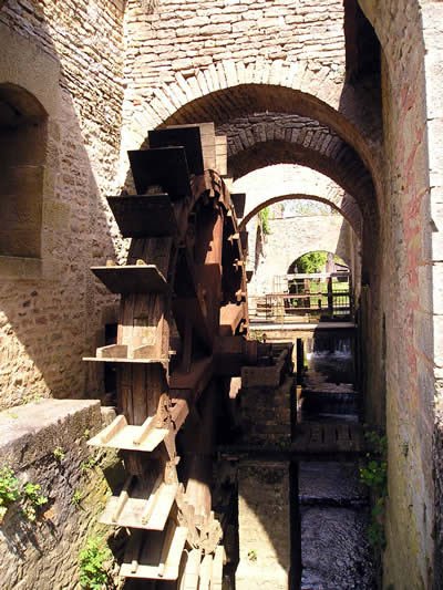 The watermill which powerd the blower of the furnace