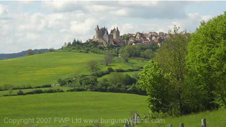 View of the castle on the hill top overlooking the Auxois  plains