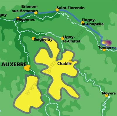 Chablis wine region map