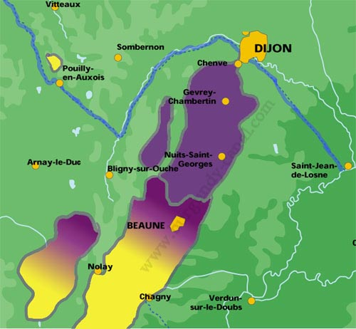 Map Cote de Beaune and Nuit wines